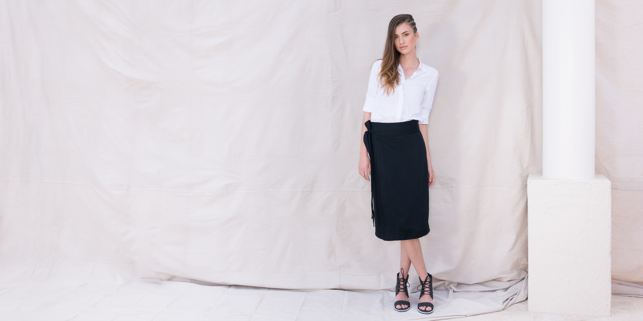 Bamboo Material Eco Friendly Fashion Wrap Skirt Black