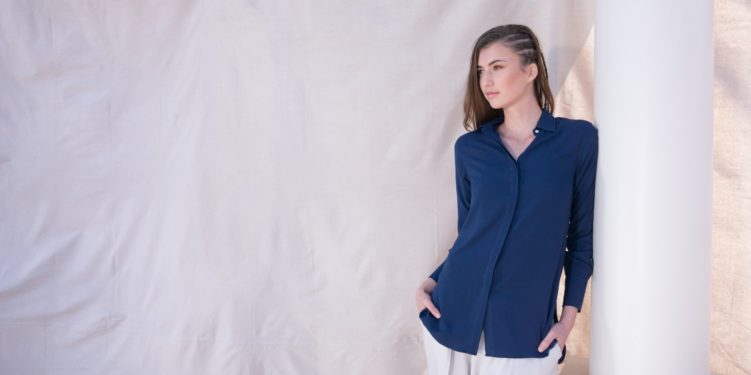 Bamboo Material Eco Friendly Fashion Blue Shirt