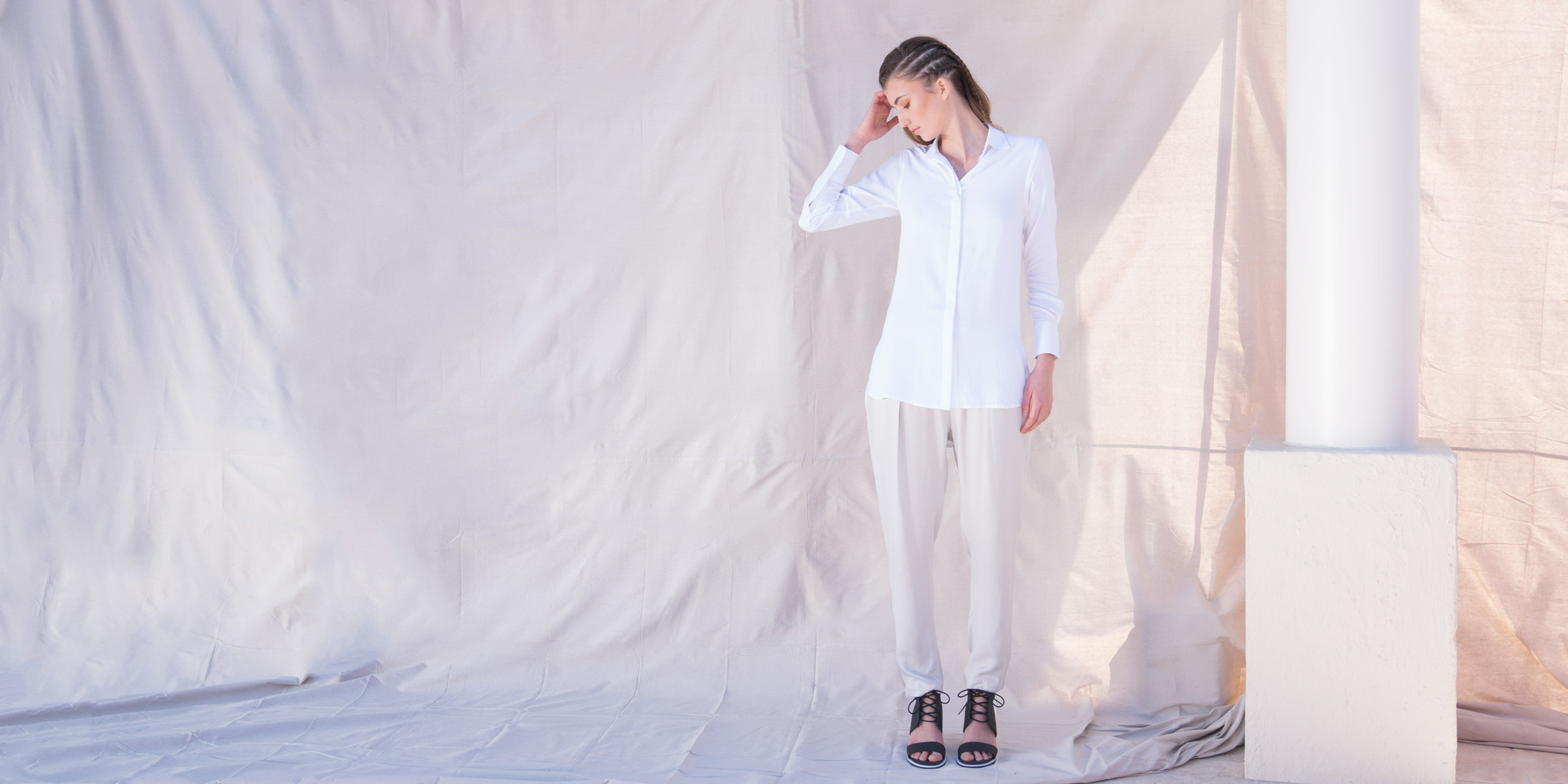 Bamboo Material Eco Friendly Fashion White Shirt
