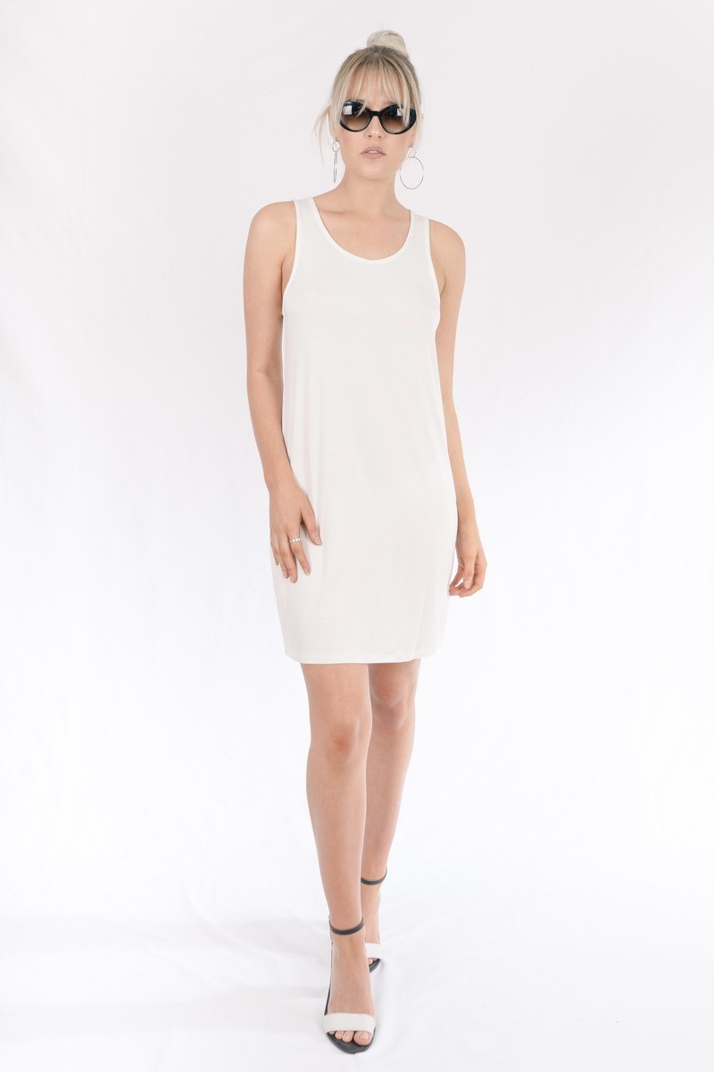 Europa Bamboo Short Dress In White The Great Beyond